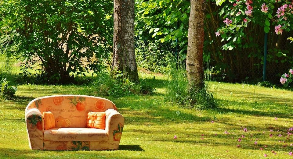 Photo of a sofa outside during summer